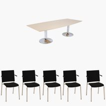 Konferensbord Meeting/excet-low 260x120 cm + 8 Ossian stolar